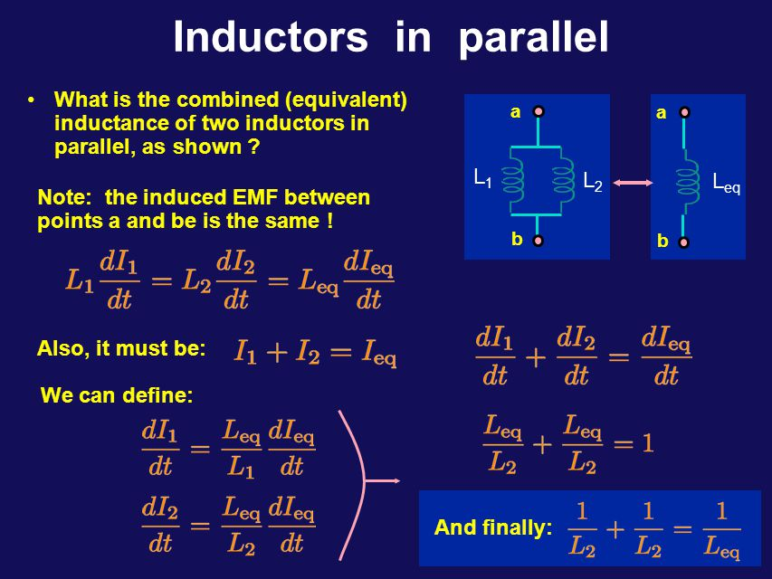 Inductors in Series What is the combined (equivalent) inductance of two inductors in series, as shown .