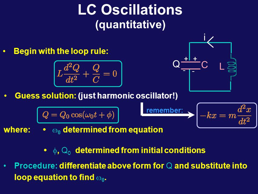 LC Oscillations (quantitative) What do we need to do to turn our qualitative knowledge into quantitative knowledge.