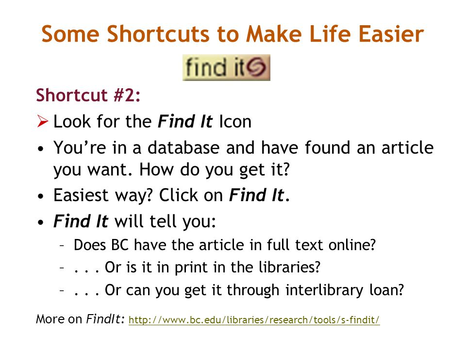 Shortcut #2:  Look for the Find It Icon You're in a database and have found an article you want.