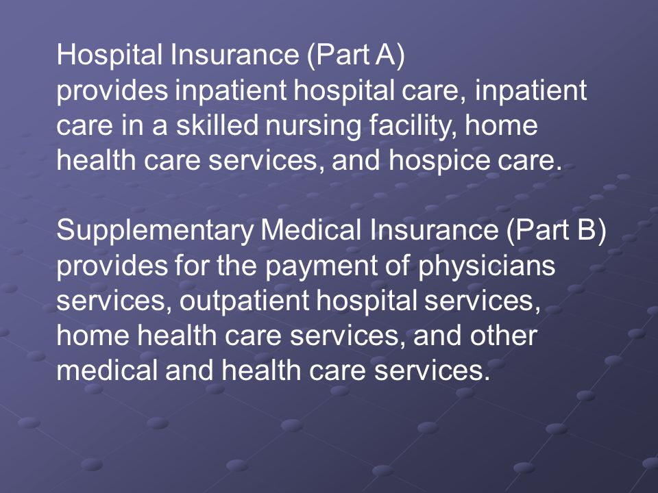 Hospital Insurance (Part A) provides inpatient hospital care, inpatient care in a skilled nursing facility, home health care services, and hospice care.