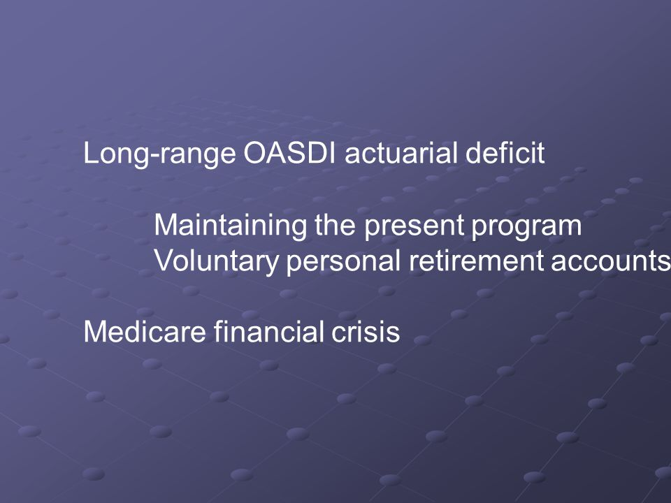 Long-range OASDI actuarial deficit Maintaining the present program Voluntary personal retirement accounts Medicare financial crisis