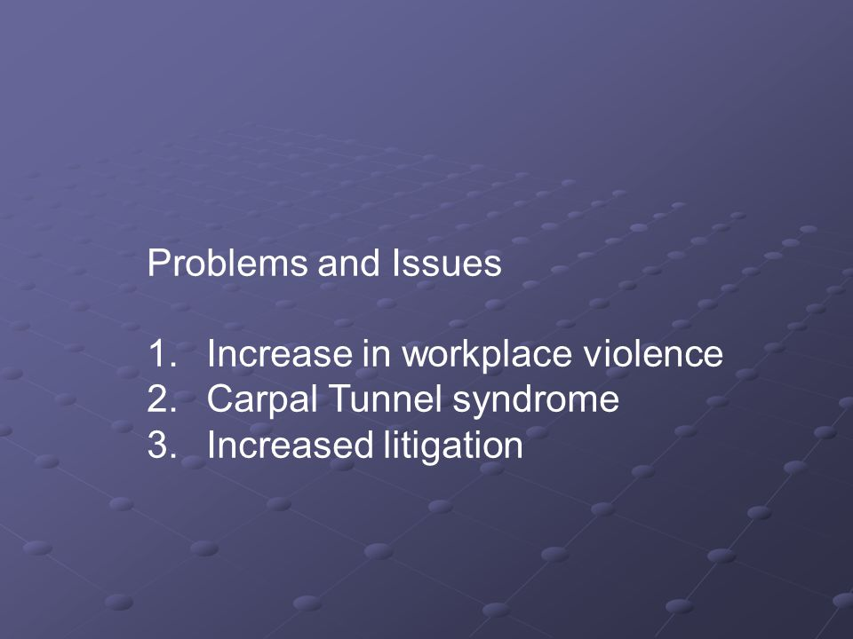 Problems and Issues 1. Increase in workplace violence 2.
