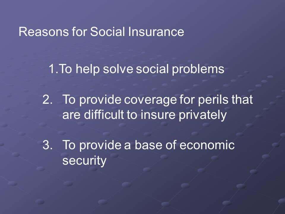 Reasons for Social Insurance 1.To help solve social problems 2.