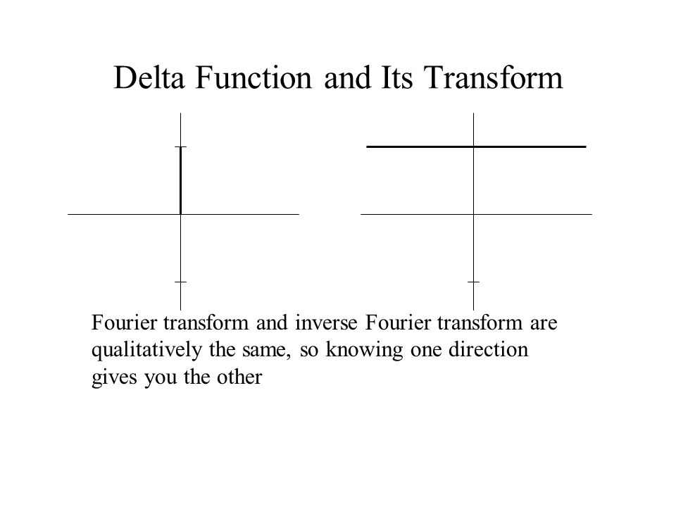 Delta Function and Its Transform Fourier transform and inverse Fourier transform are qualitatively the same, so knowing one direction gives you the other