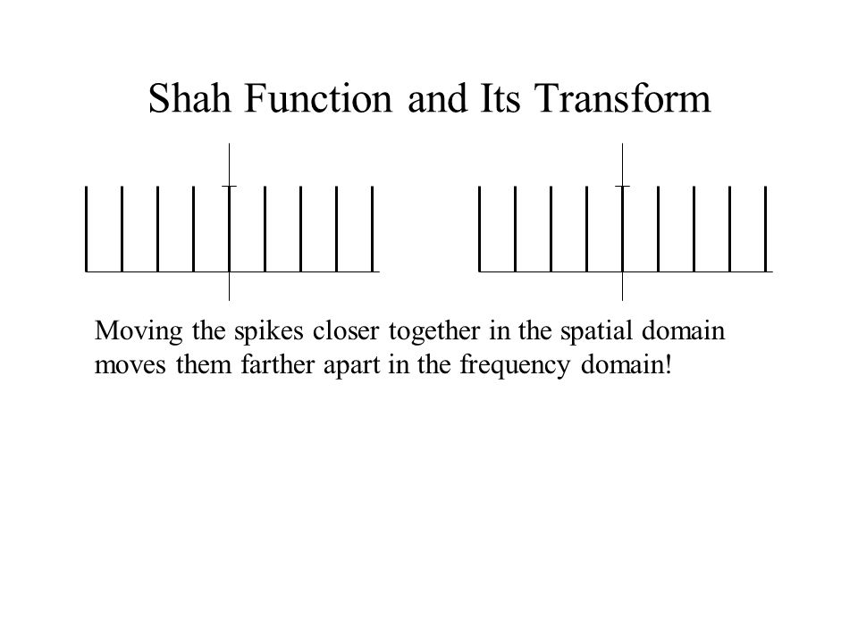Shah Function and Its Transform Moving the spikes closer together in the spatial domain moves them farther apart in the frequency domain!