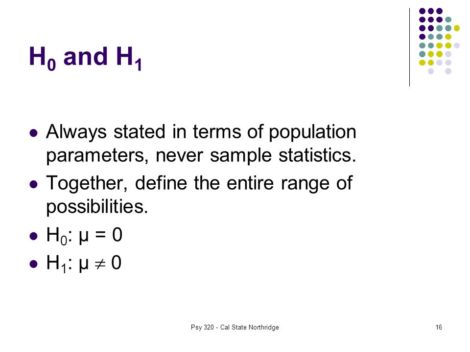 16 H 0 and H 1 Always stated in terms of population parameters, never sample statistics.