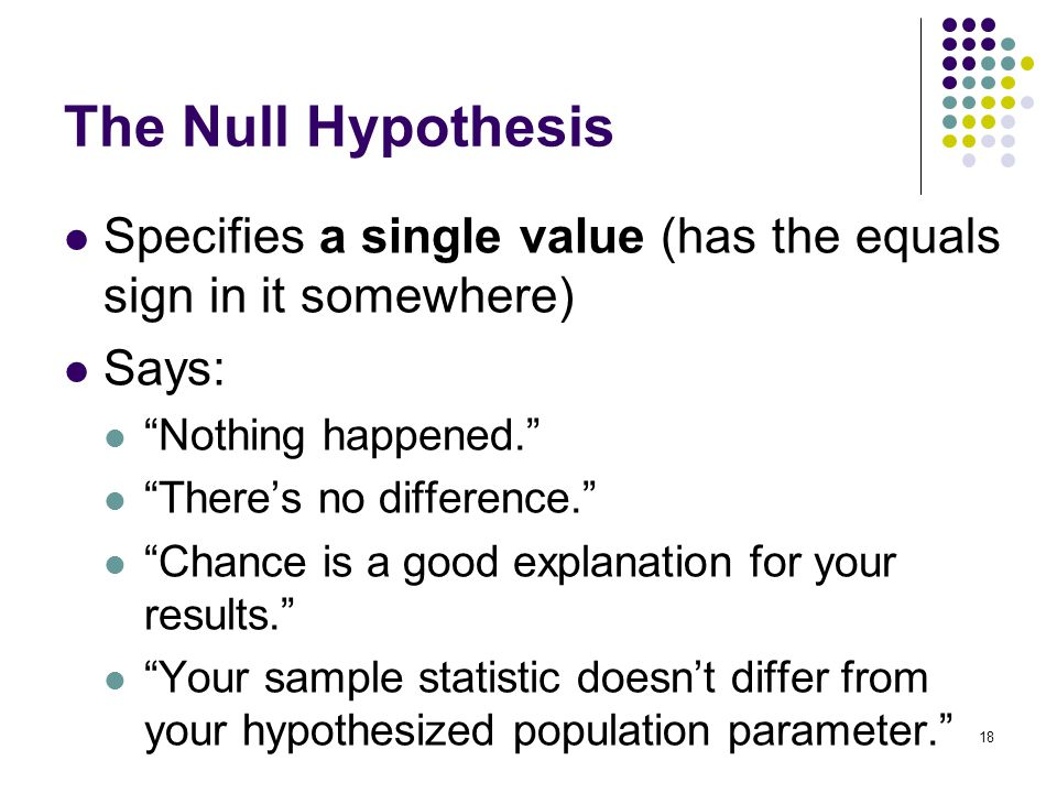 18 The Null Hypothesis Specifies a single value (has the equals sign in it somewhere) Says: Nothing happened. There's no difference. Chance is a good explanation for your results. Your sample statistic doesn't differ from your hypothesized population parameter.