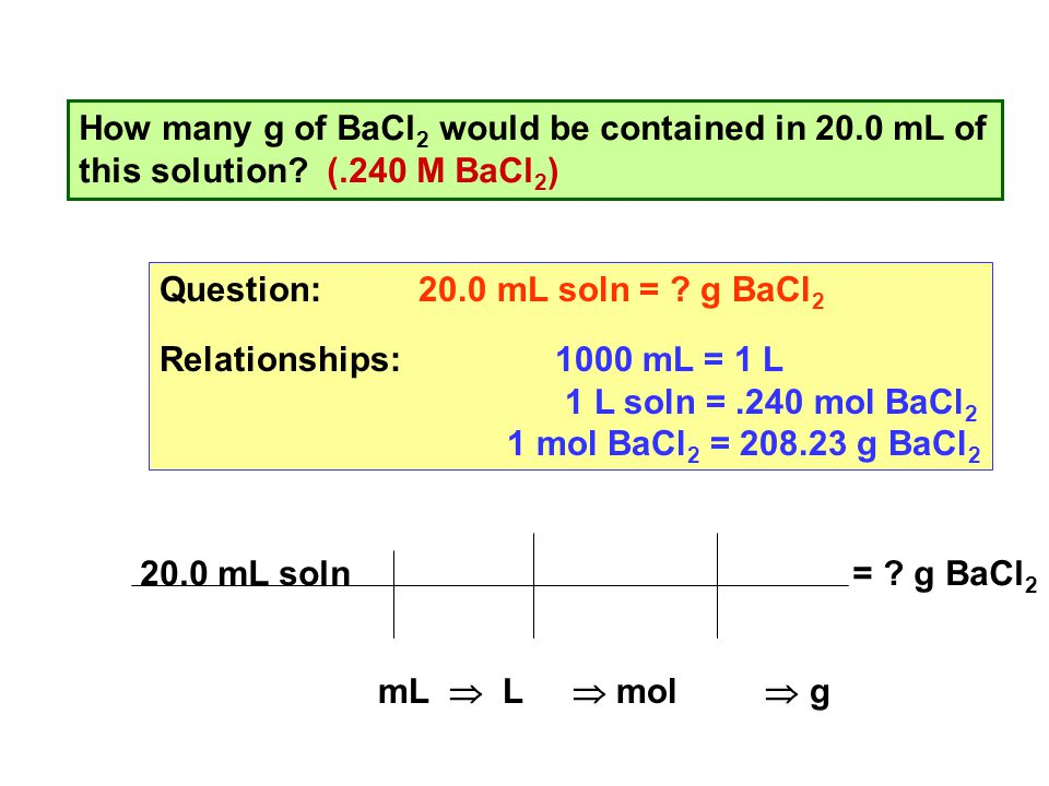 How many g of BaCl 2 would be contained in 20.0 mL of this solution.