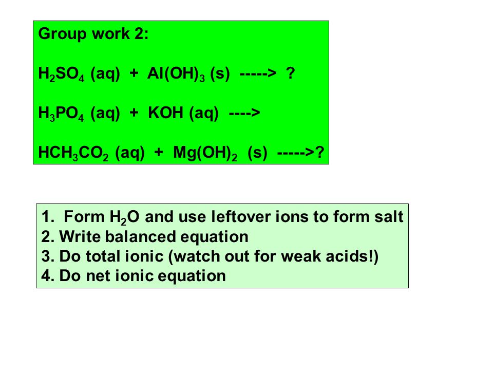 Group work 2: H 2 SO 4 (aq) + Al(OH) 3 (s) -----> .