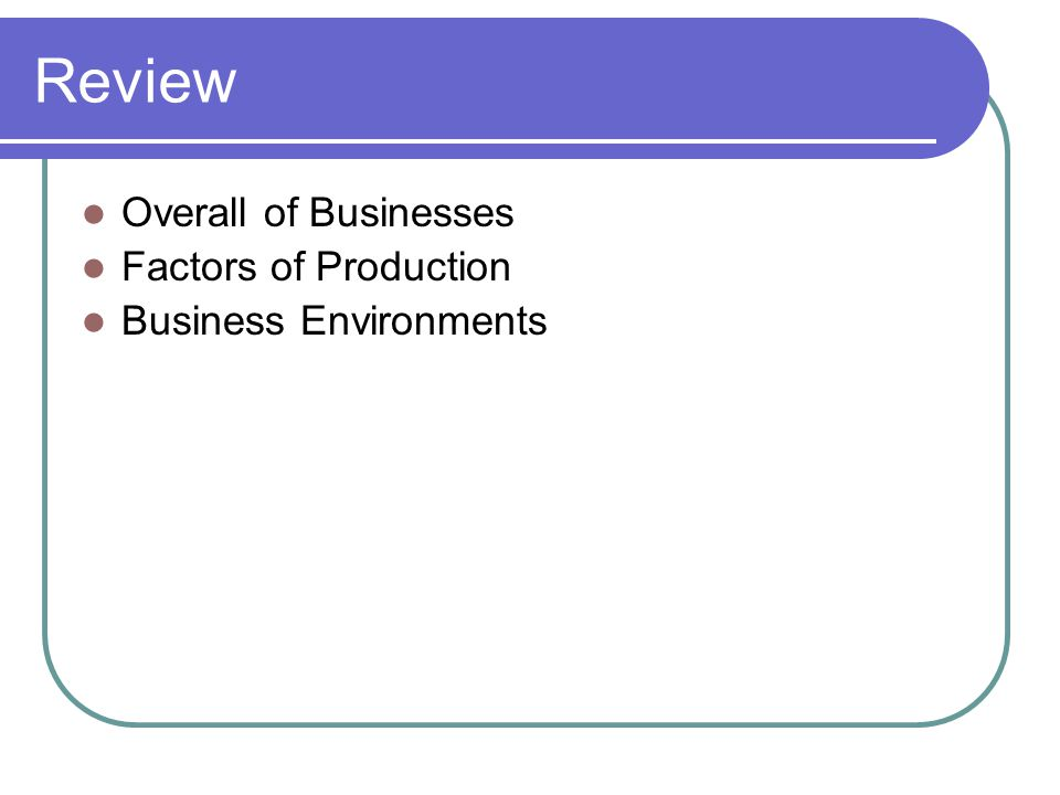 Review Overall of Businesses Factors of Production Business Environments