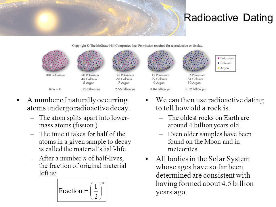 Radioactive Dating A number of naturally occurring atoms undergo radioactive decay.