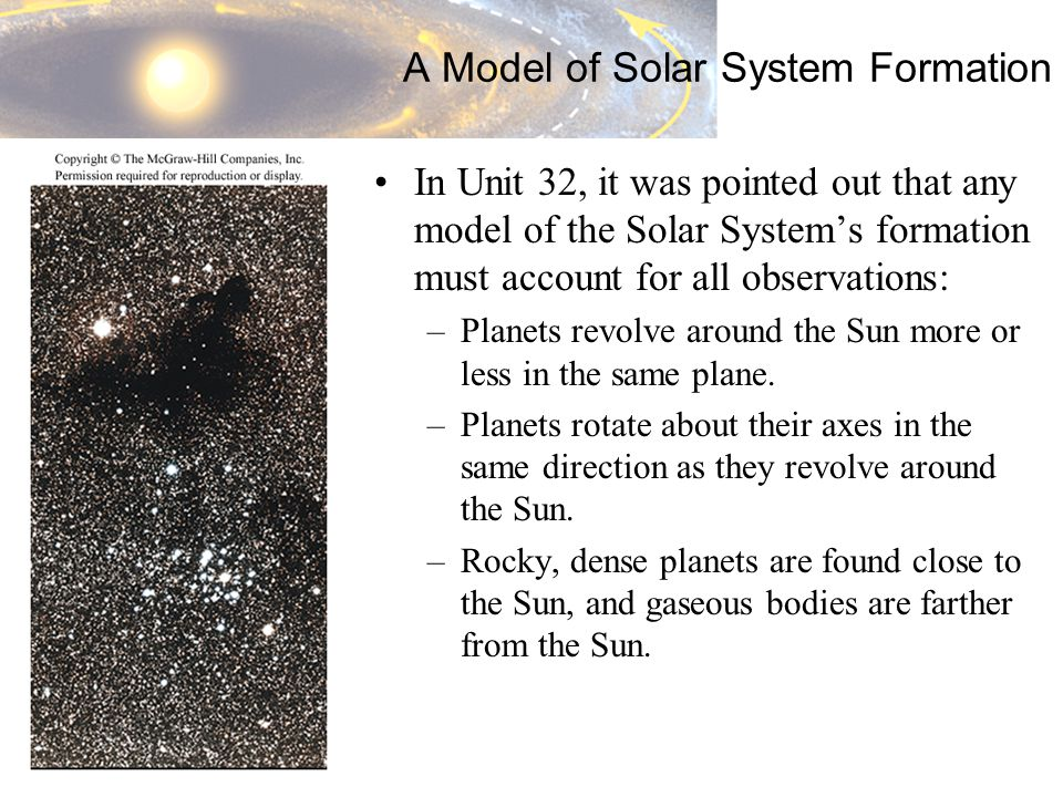 A Model of Solar System Formation In Unit 32, it was pointed out that any model of the Solar System's formation must account for all observations: –Planets revolve around the Sun more or less in the same plane.