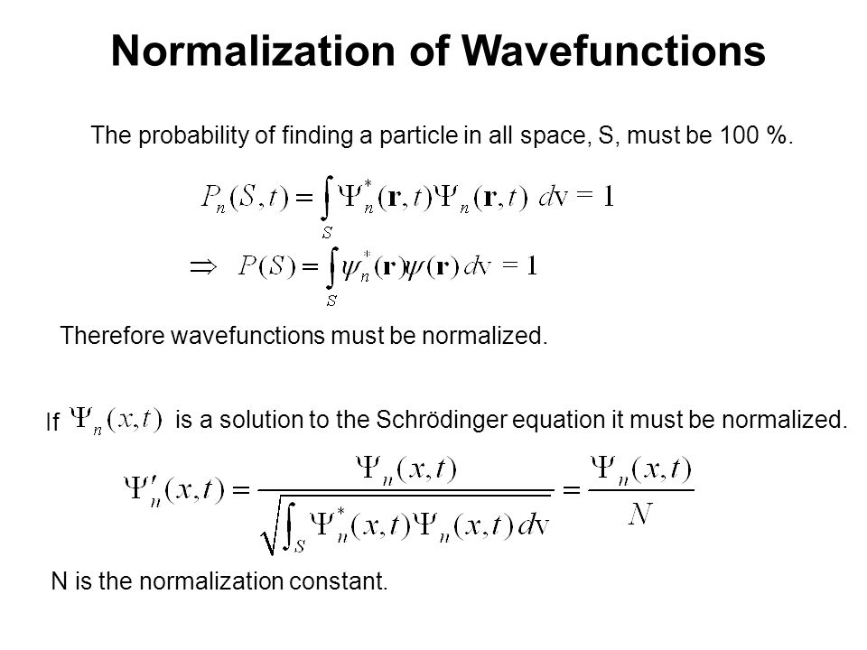 Normalization of Wavefunctions The probability of finding a particle in all space, S, must be 100 %.