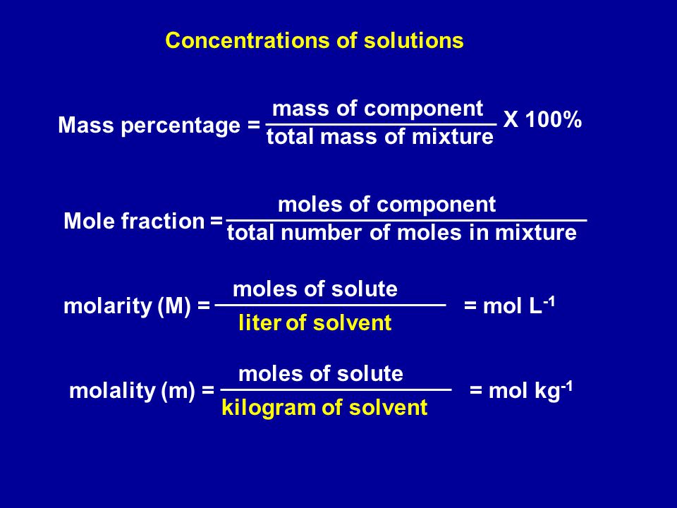 Mass percentage = mass of component total mass of mixture X 100% total number of moles in mixture Mole fraction = moles of component molality (m) = moles of solute kilogram of solvent = mol kg -1 Concentrations of solutions molarity (M) = moles of solute liter of solvent = mol L -1