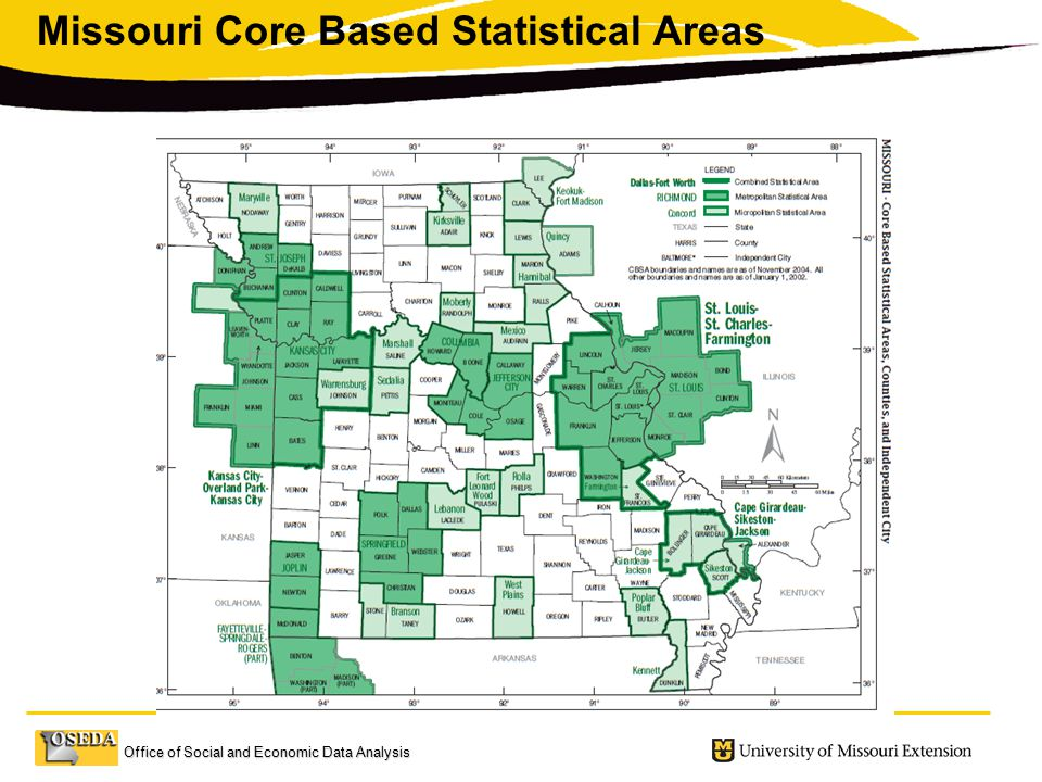 Office of Social and Economic Data Analysis Missouri Core Based Statistical Areas