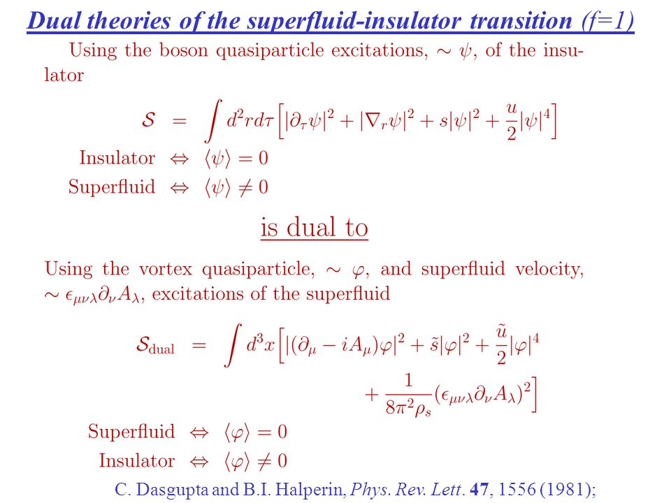 Dual theories of the superfluid-insulator transition (f=1) C.
