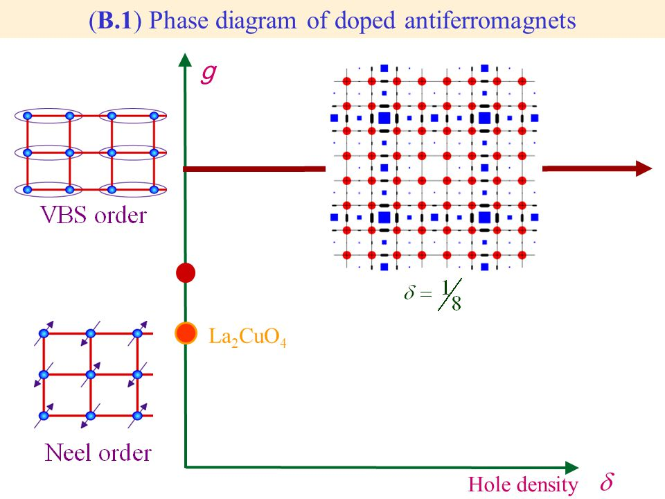 g La 2 CuO 4  Hole density (B.1) Phase diagram of doped antiferromagnets