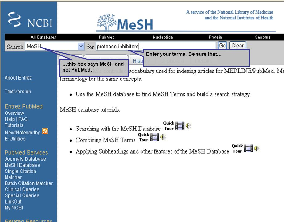 Enter your terms. Be sure that… …this box says MeSH and not PubMed.