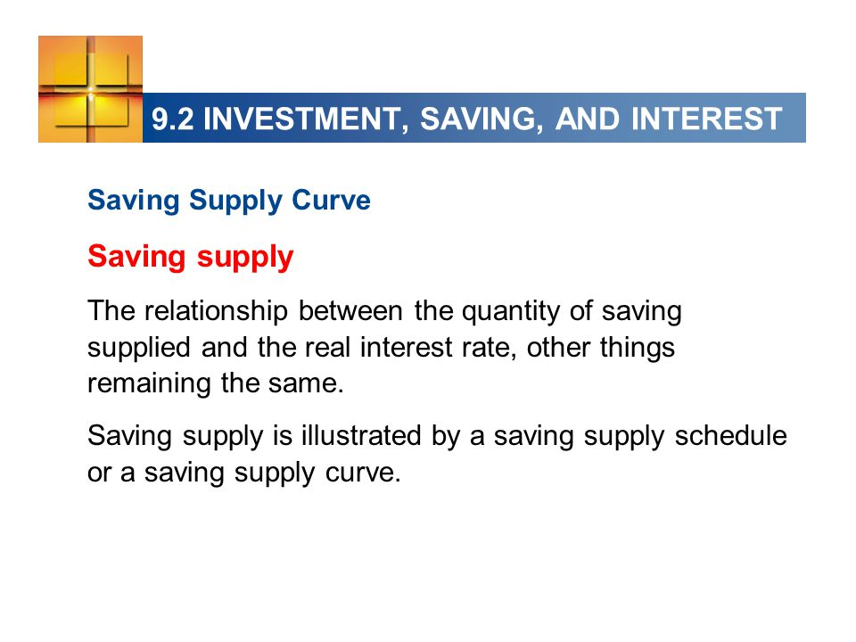 9.2 INVESTMENT, SAVING, AND INTEREST Saving Supply Curve Saving supply The relationship between the quantity of saving supplied and the real interest rate, other things remaining the same.