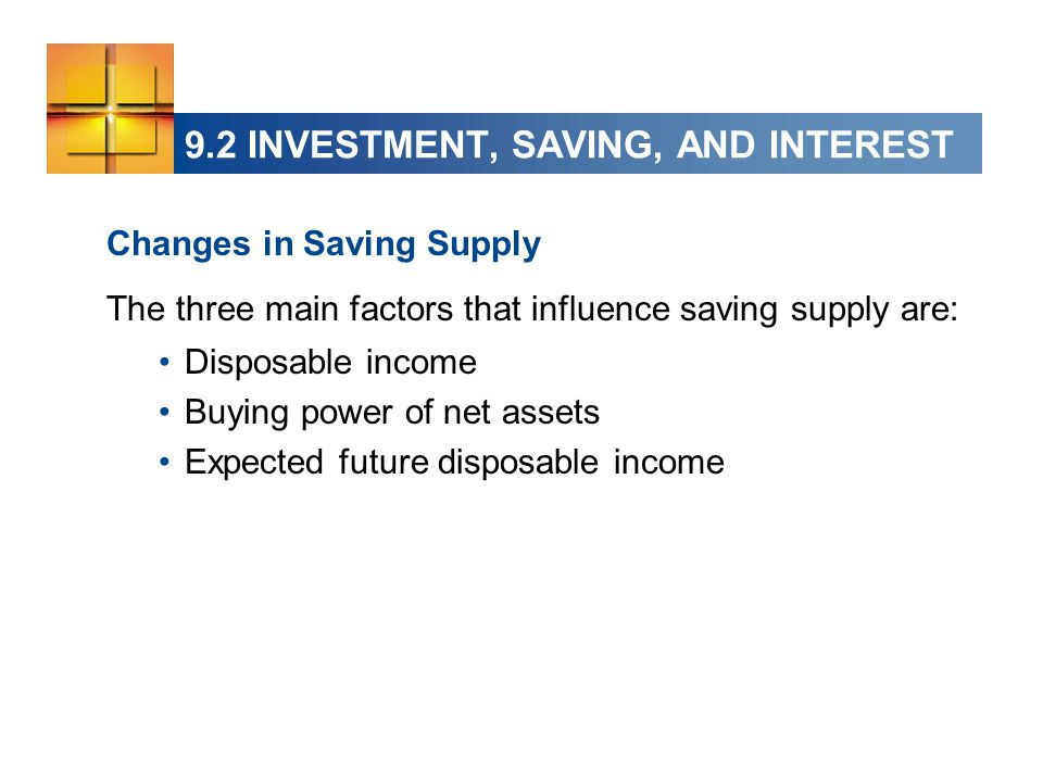 9.2 INVESTMENT, SAVING, AND INTEREST Changes in Saving Supply The three main factors that influence saving supply are: Disposable income Buying power of net assets Expected future disposable income