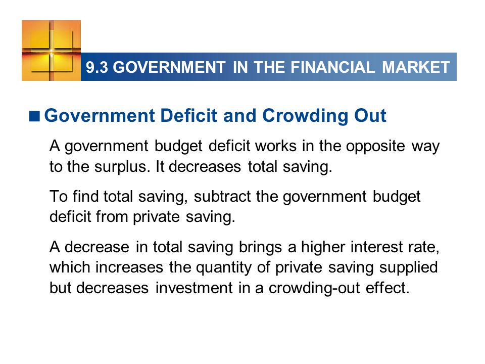  Government Deficit and Crowding Out A government budget deficit works in the opposite way to the surplus.