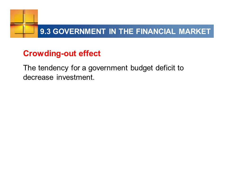 Crowding-out effect The tendency for a government budget deficit to decrease investment.