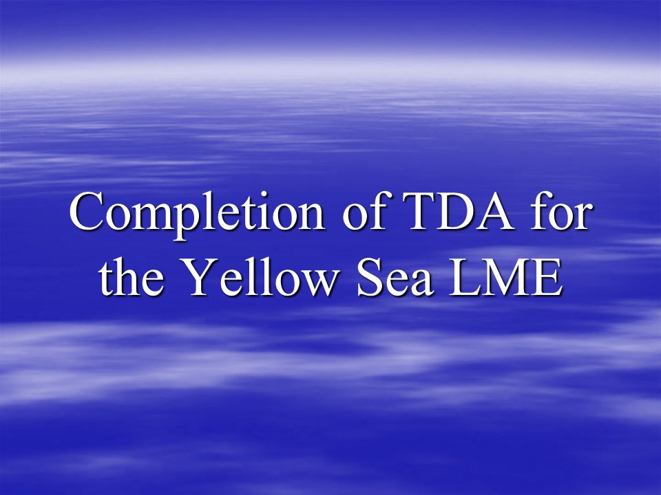 Completion of TDA for the Yellow Sea LME