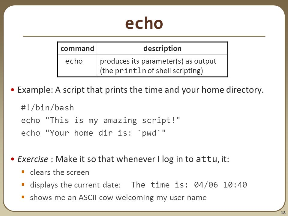 18 echo Example: A script that prints the time and your home directory.