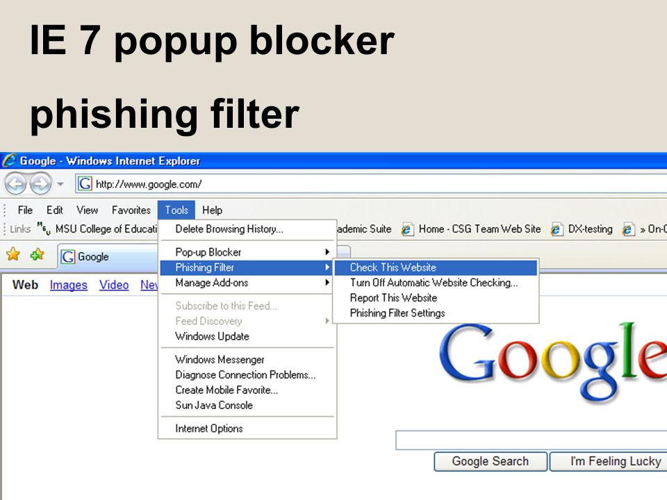 IE 7 popup blocker phishing filter