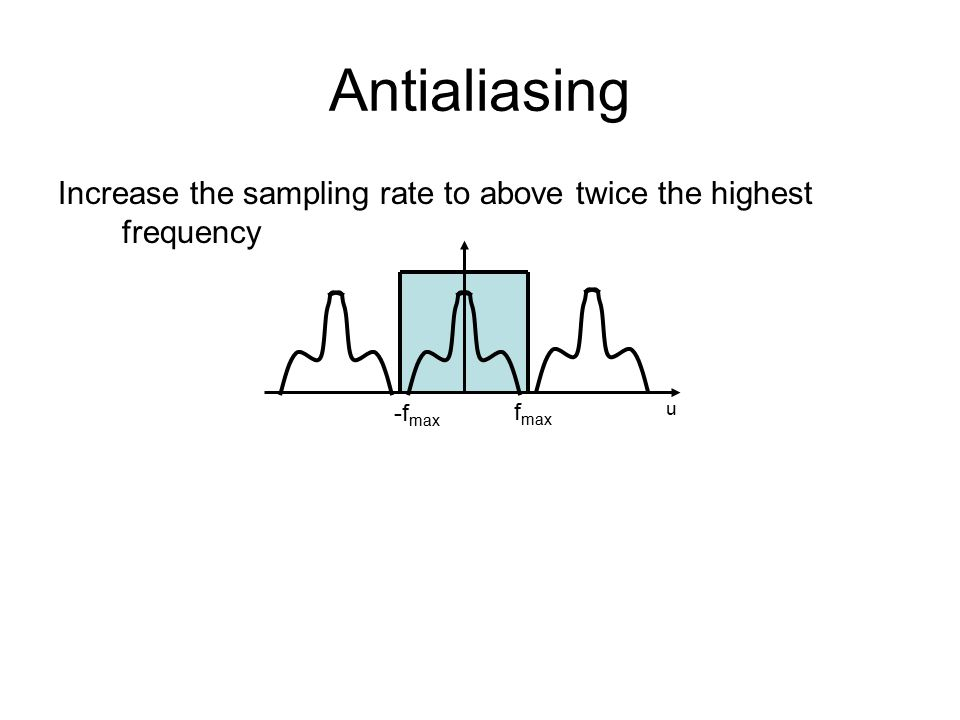 Increase the sampling rate to above twice the highest frequency u -f max f max