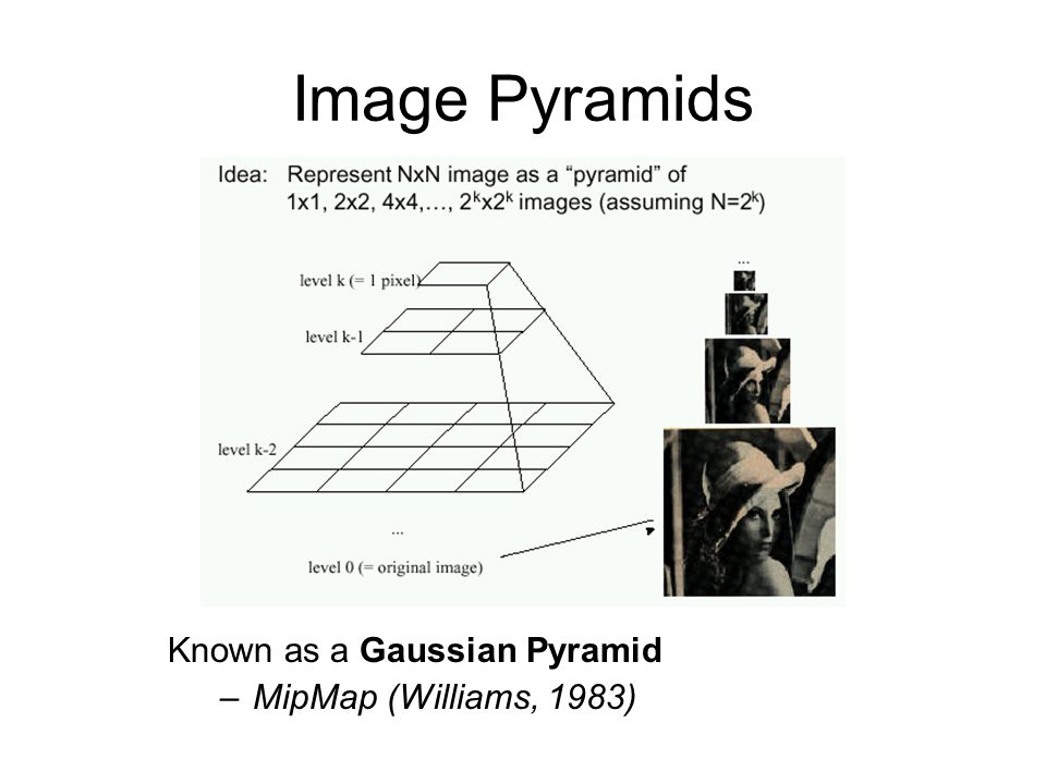 Known as a Gaussian Pyramid –MipMap (Williams, 1983) Image Pyramids