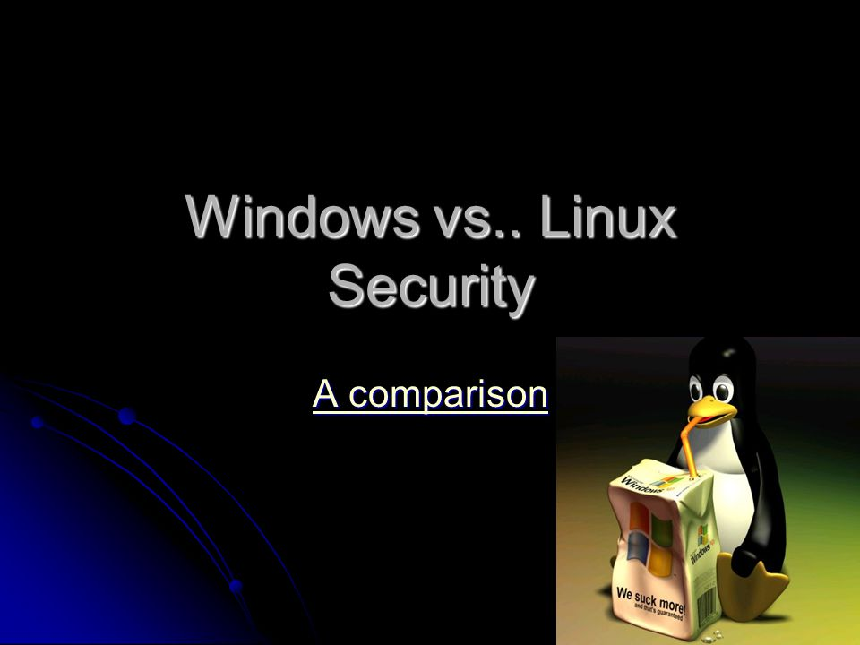 Windows vs   Linux Security A comparison A comparison  - ppt