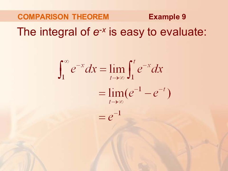 COMPARISON THEOREM The integral of e -x is easy to evaluate: Example 9