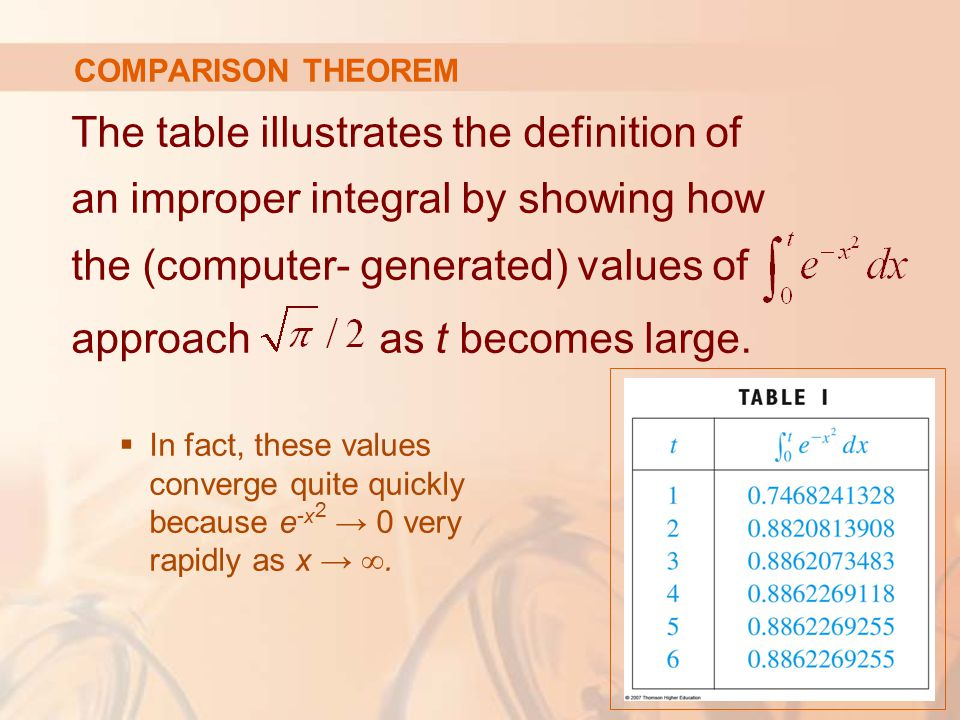 COMPARISON THEOREM The table illustrates the definition of an improper integral by showing how the (computer- generated) values of approach as t becomes large.