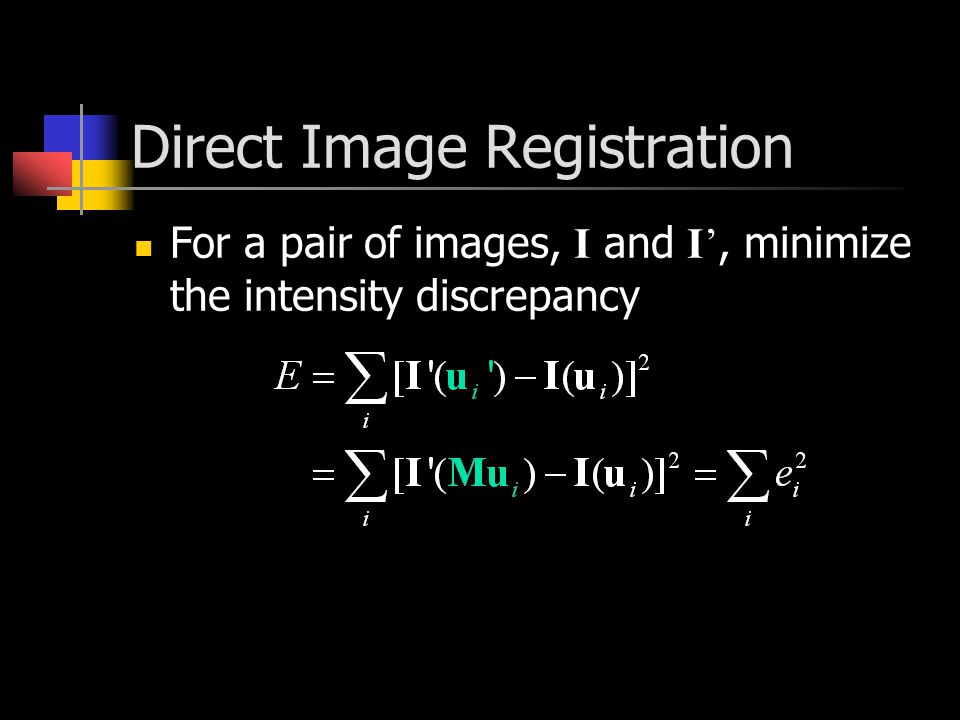 Direct Image Registration For a pair of images, I and I', minimize the intensity discrepancy