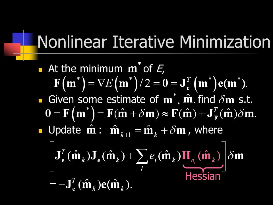 Nonlinear Iterative Minimization At the minimum of E, Given some estimate of find s.t.