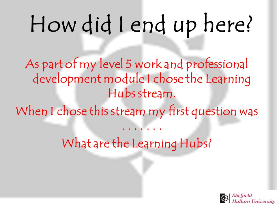 As part of my level 5 work and professional development module I chose the Learning Hubs stream.