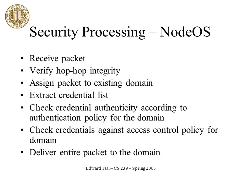 Edward Tsai – CS 239 – Spring 2003 Security Processing – NodeOS Receive packet Verify hop-hop integrity Assign packet to existing domain Extract credential list Check credential authenticity according to authentication policy for the domain Check credentials against access control policy for domain Deliver entire packet to the domain