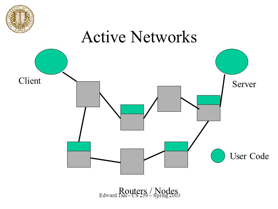 Edward Tsai – CS 239 – Spring 2003 Active Networks Client Server Routers / Nodes User Code