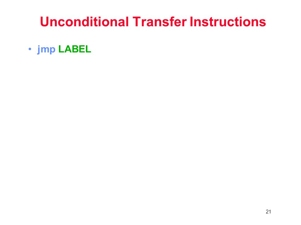 21 Unconditional Transfer Instructions jmp LABEL