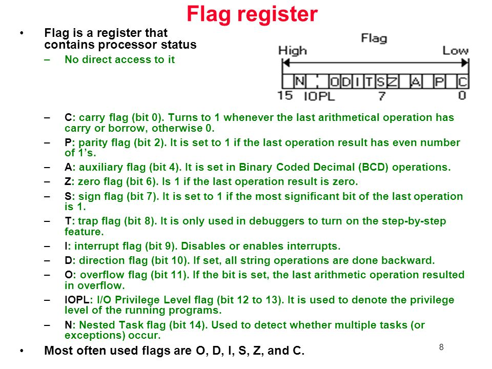 8 Flag register Flag is a register that contains processor status –No direct access to it –C: carry flag (bit 0).
