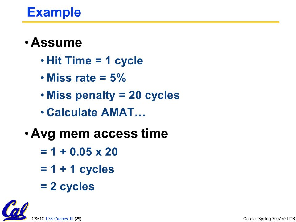 CS61C L33 Caches III (29) Garcia, Spring 2007 © UCB Example Assume Hit Time = 1 cycle Miss rate = 5% Miss penalty = 20 cycles Calculate AMAT… Avg mem access time = x 20 = cycles = 2 cycles