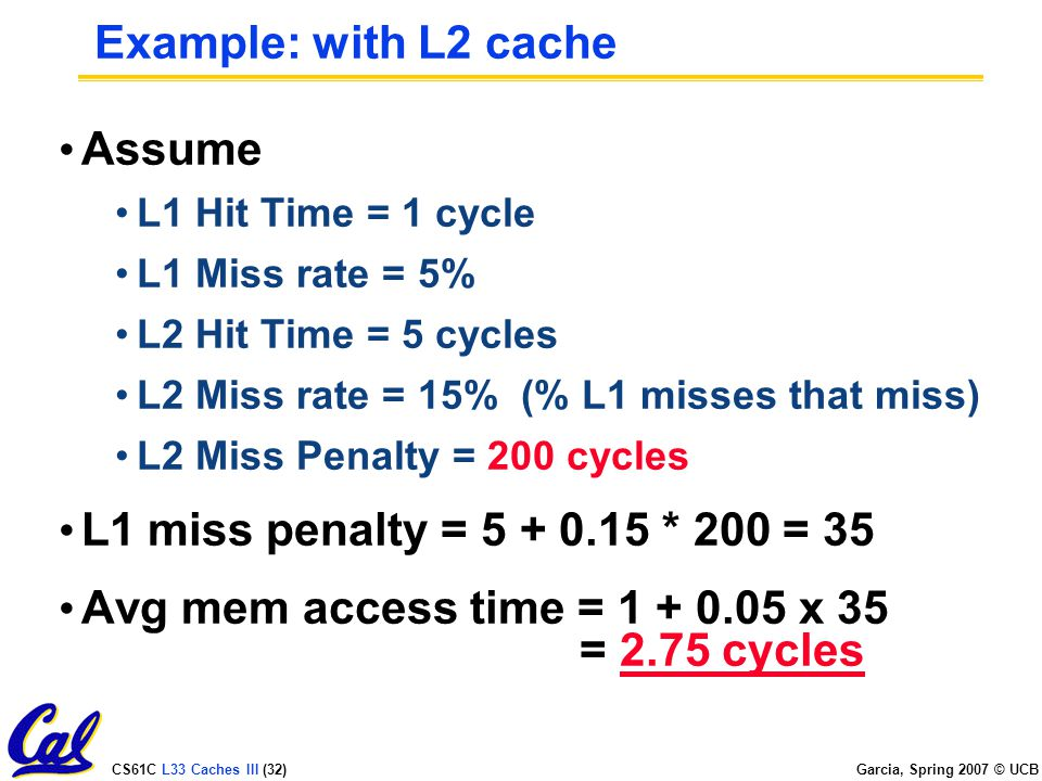 CS61C L33 Caches III (32) Garcia, Spring 2007 © UCB Example: with L2 cache Assume L1 Hit Time = 1 cycle L1 Miss rate = 5% L2 Hit Time = 5 cycles L2 Miss rate = 15% (% L1 misses that miss) L2 Miss Penalty = 200 cycles L1 miss penalty = * 200 = 35 Avg mem access time = x 35 = 2.75 cycles