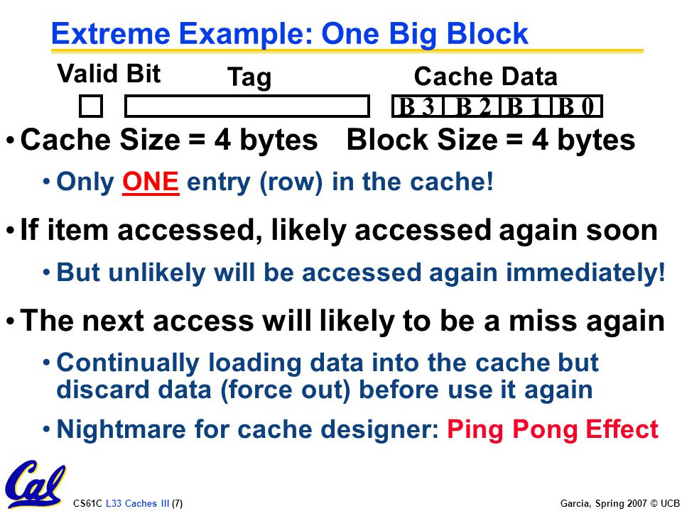 CS61C L33 Caches III (7) Garcia, Spring 2007 © UCB Extreme Example: One Big Block Cache Size = 4 bytesBlock Size = 4 bytes Only ONE entry (row) in the cache.
