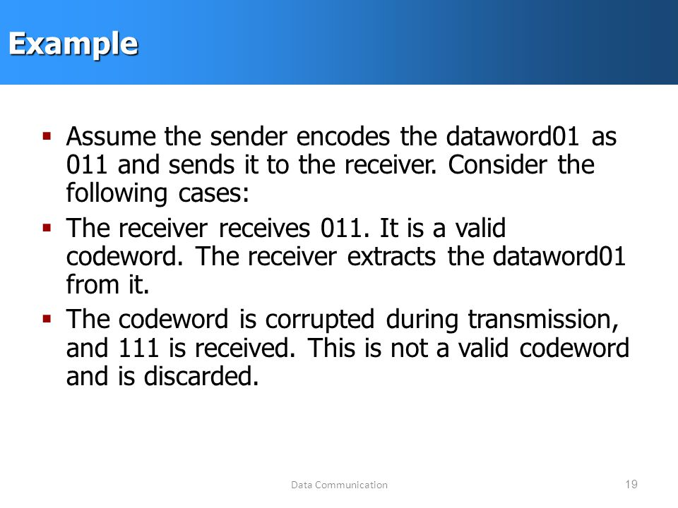 Data Communication19Example  Assume the sender encodes the dataword01 as 011 and sends it to the receiver.