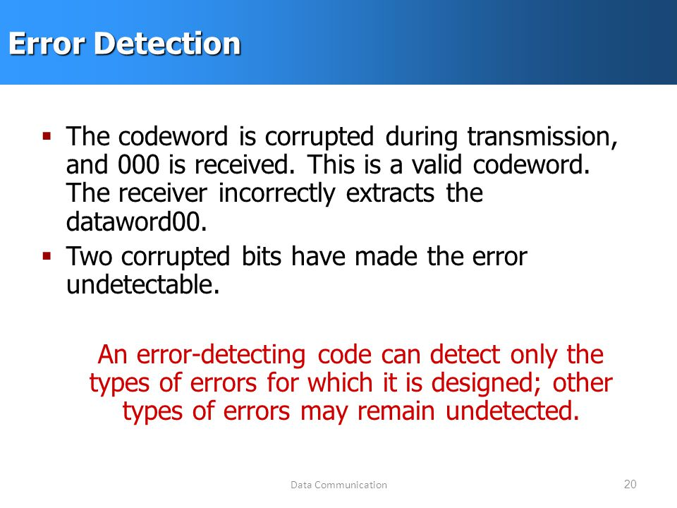Data Communication20 Error Detection  The codeword is corrupted during transmission, and 000 is received.