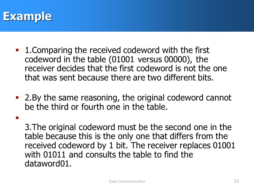 Data Communication23Example  1.Comparing the received codeword with the first codeword in the table (01001 versus 00000), the receiver decides that the first codeword is not the one that was sent because there are two different bits.
