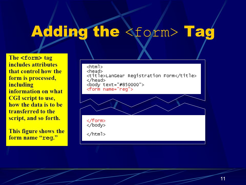 XP 11 Adding the Tag The tag includes attributes that control how the form is processed, including information on what CGI script to use, how the data is to be transferred to the script, and so forth.
