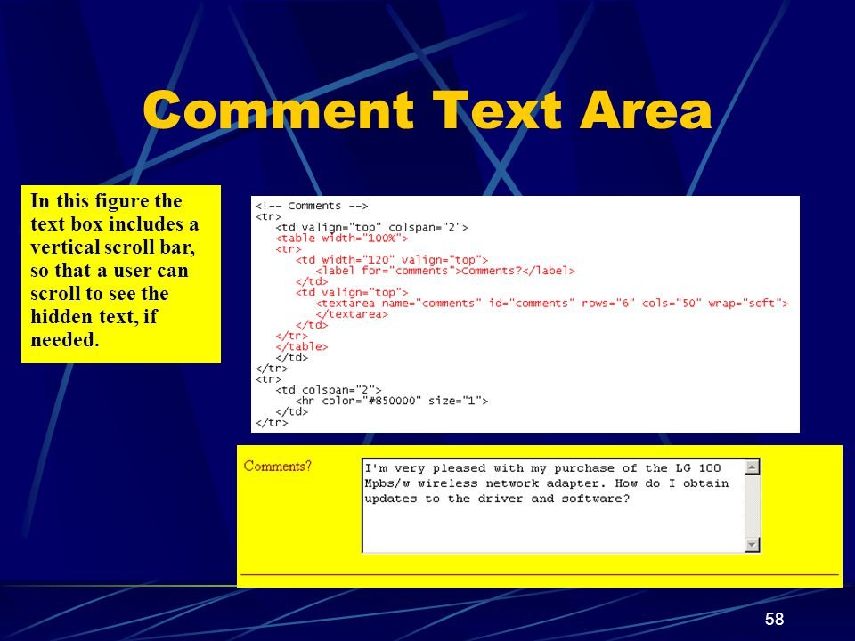 XP 58 Comment Text Area In this figure the text box includes a vertical scroll bar, so that a user can scroll to see the hidden text, if needed.