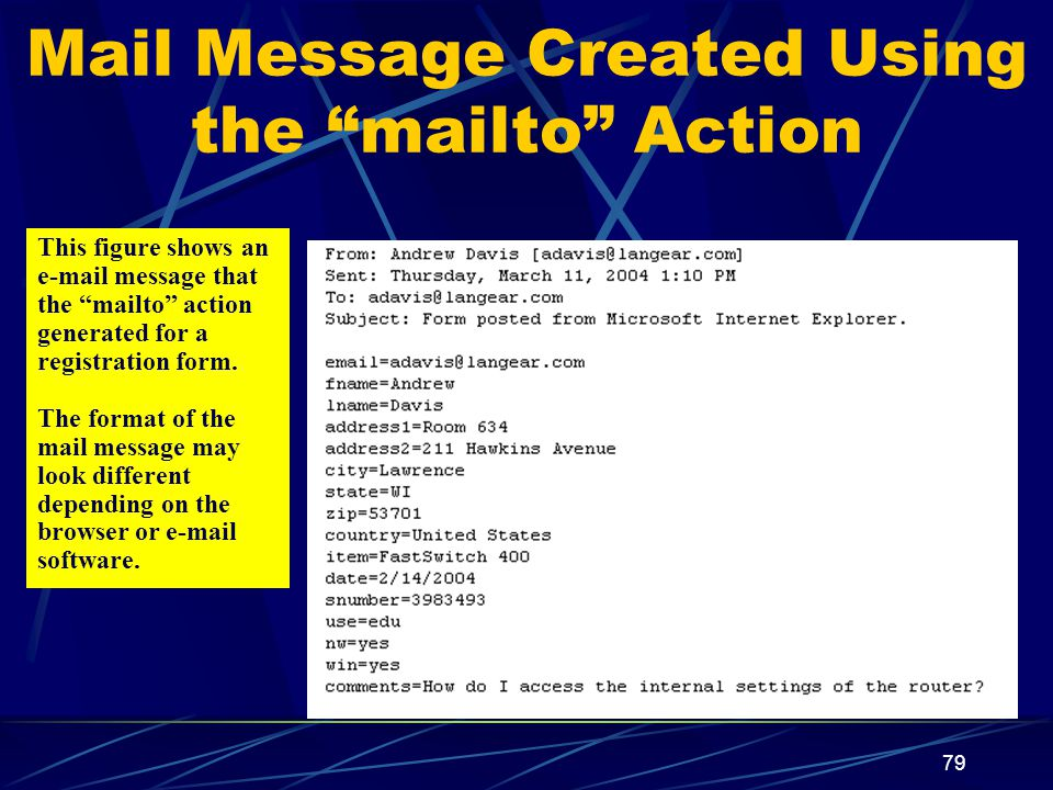 XP 79 Mail Message Created Using the mailto Action This figure shows an  message that the mailto action generated for a registration form.